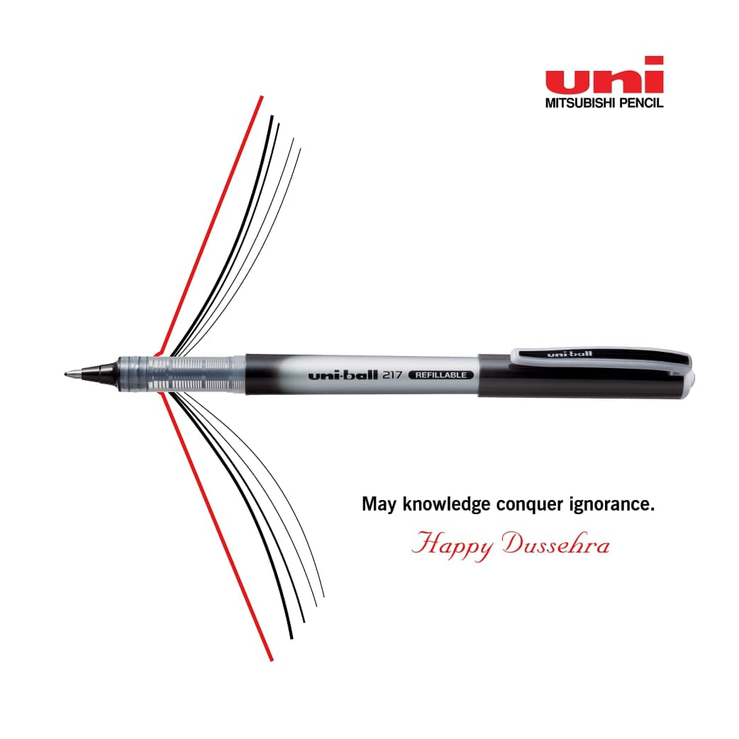 May the choicest of words pierce through to defeat ignorance as you conquer wisdom, awareness, and emerge victoriously. Wish you all a very happy & safe Dussehra.  #happydussehra #uniball #TypeNahiWriteKaro #uni #festivalseason #ballpen #dussehra https://t.co/4s3cxz85wc