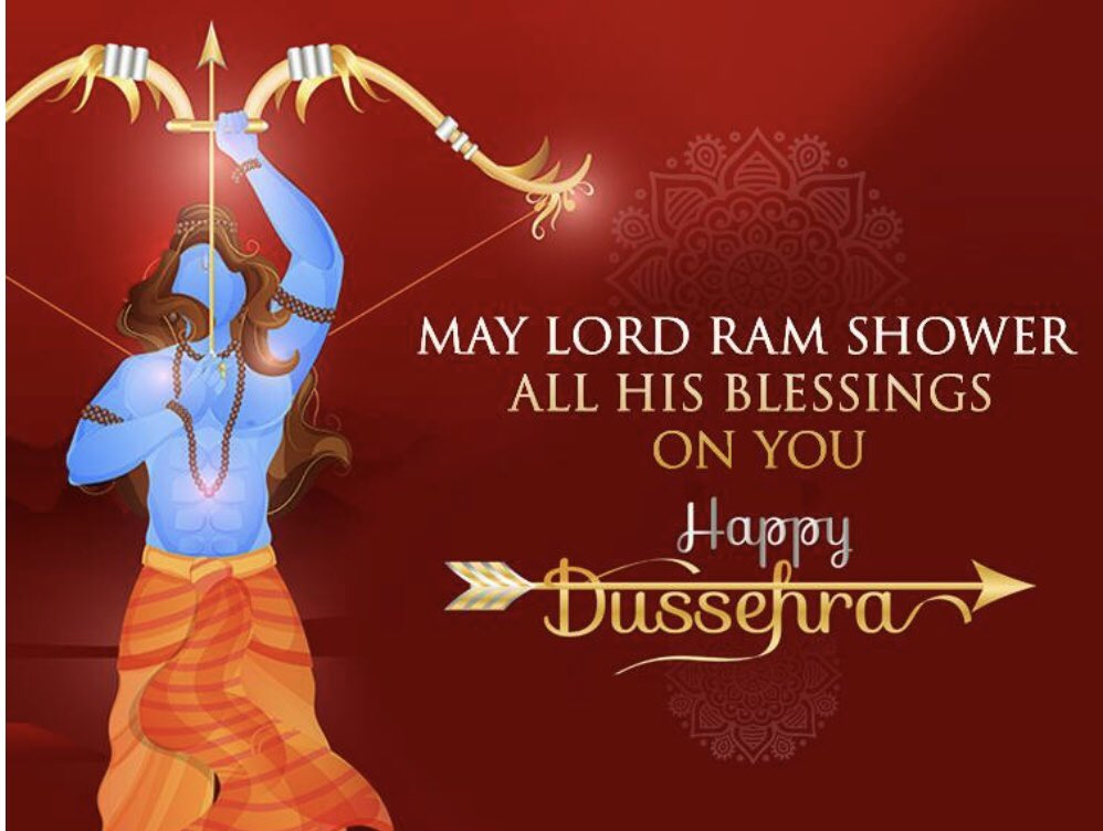 Dussehra brings a lot of joy, prosperity and success for you. May you get relief from your worries! May Lord Ram keep showing you the right path and always help you achieve your goals. Stay positive and have faith in yourself. Happy Dussehra to you and your family  HCUK 🙏🙏