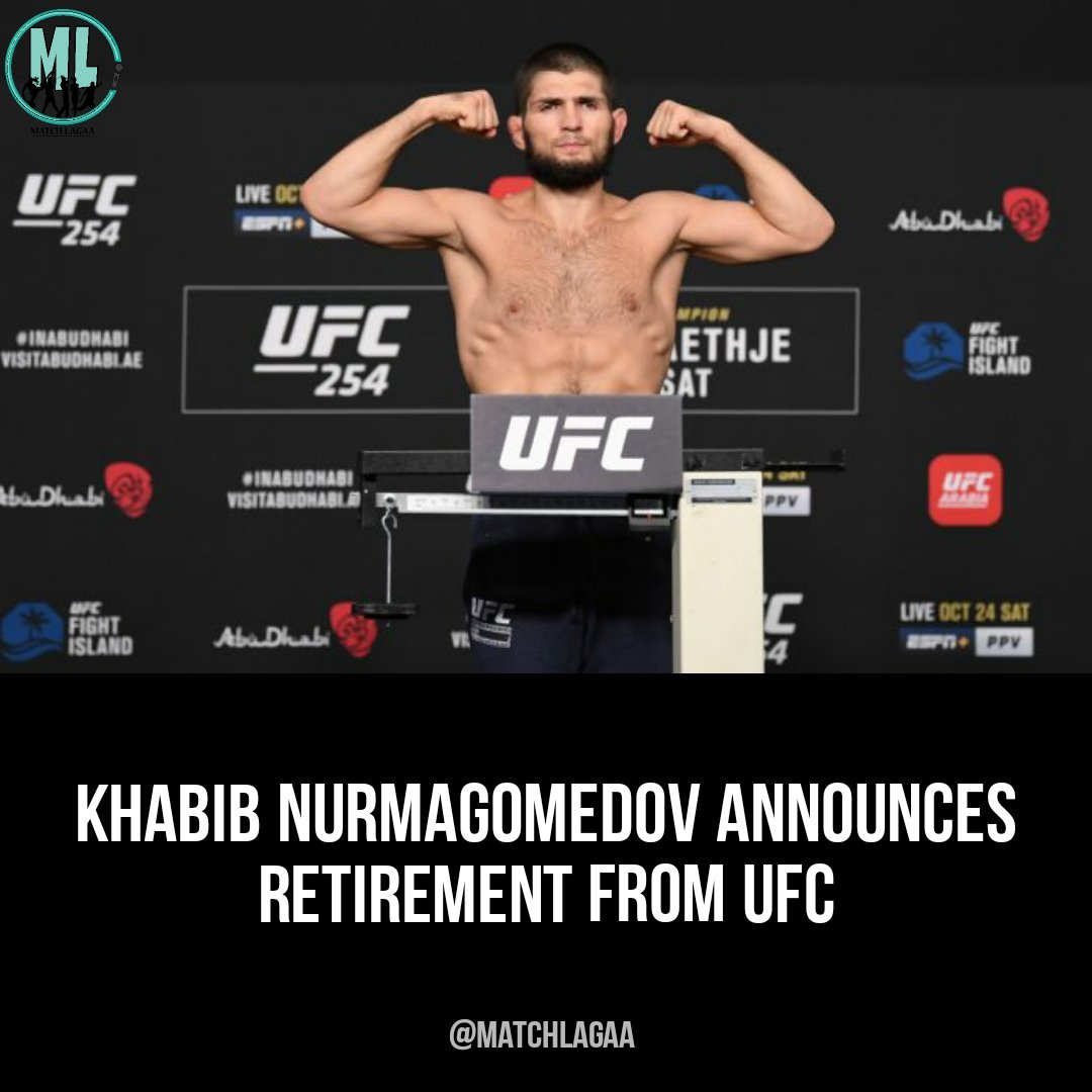 Khabib Nurmagomedov Announces Retirement From UFC  To know more, check this out: https://t.co/RJwUnRumFQ   #Khabib #khabibnurmagomedov #UFC254 #UFCFightIsland6 #UFCFightIsland #boxing #kickboxing #matchlagaa https://t.co/5weHYUW6X5