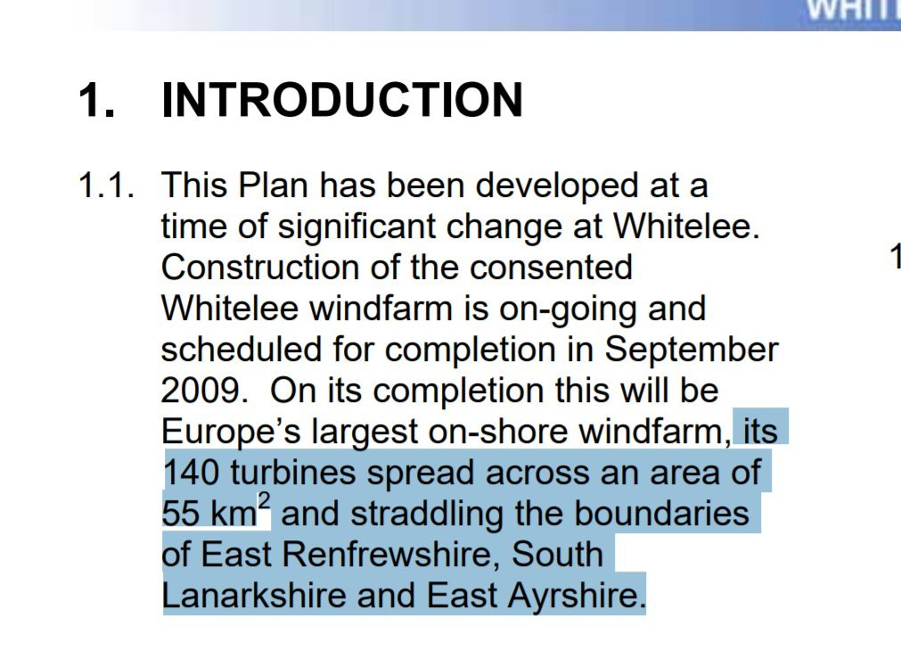 What they're doing there is assuming the *entire* area of the wind farm is unusable. But if you spoke to *anyone* involved w/ wind, you know it's a lie. Eg: Whitelee, in the pic, is constantly used as a public space. Are there any mountain biking tracks through the nuclear plant?