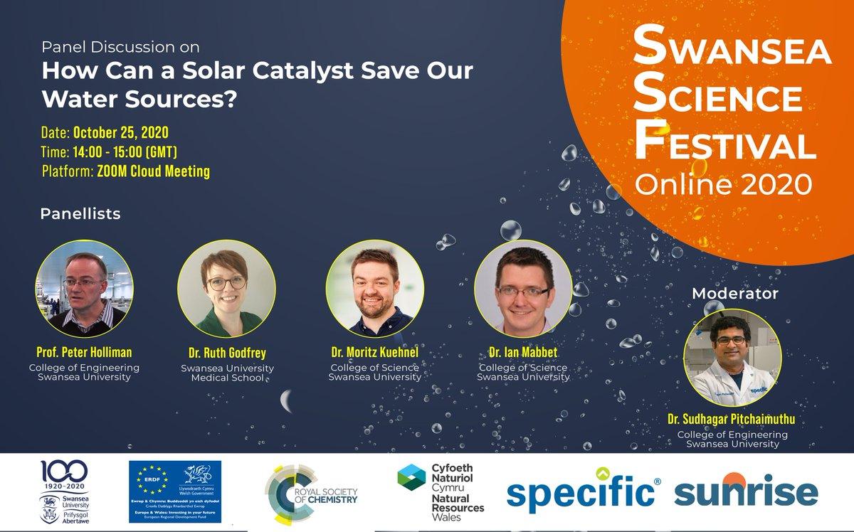 Join @vedichi and colleagues to hear how solar catalysts can be used to treat water in a green and sustainable way.  ⏰ Today at 2pm  💰 Free ➡️Info & register: https://t.co/ubfqbclKGN   #SwanseaSciFest #SPECIFICresearch #SolarResearch https://t.co/wG4YdrsCKV