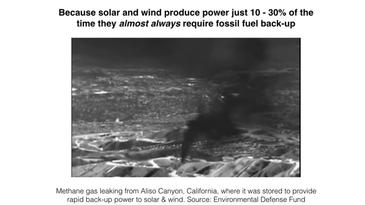 This isn't unusual. Consider another example: their website has this slide, which completely confuses 'capacity factor' with the amount of time that solar and generate power. Which, incidentally, is exactly the same extremely basic error that the 'Planet of the humans' crowd make