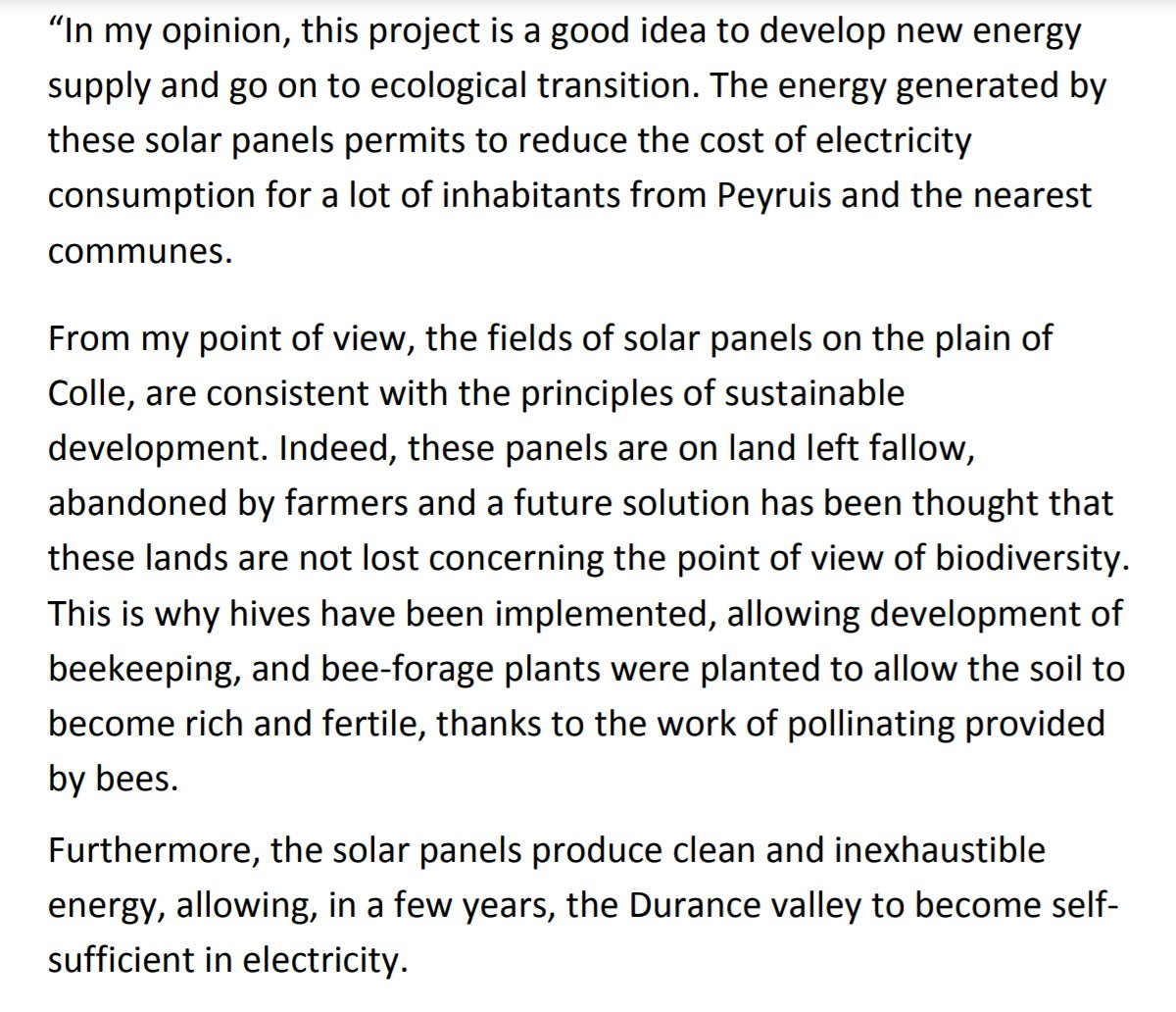 """In fact, Les Mées was also specifically designed without concrete, and built on """"land left fallow, abandoned by farmers"""", and included the addition of bee hives, and bee-forage plants underneath the panels. Remember: this is back in 2011 https://iut.univ-amu.fr/sites/iut.univ-amu.fr/files/celine_canon_et_elodie_cravino.pdf"""