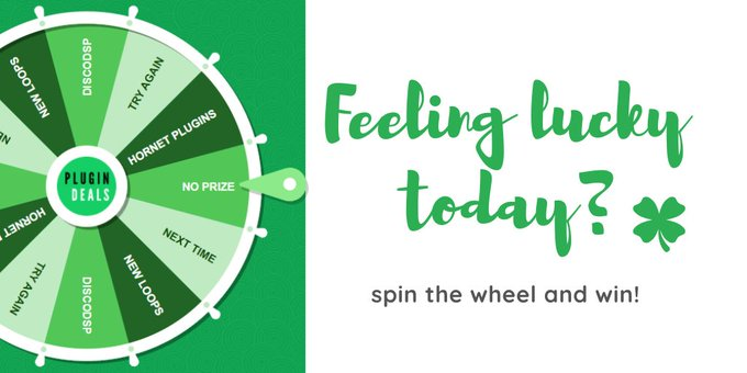 Feeling lucky today? Spin the wheel and win! 🍀  https://t.co/R17SwITB1w  #plugindeals #pluginsales #ableton #beatmaking #mastering #mixing #producer #studio https://t.co/DT41BPNcp4