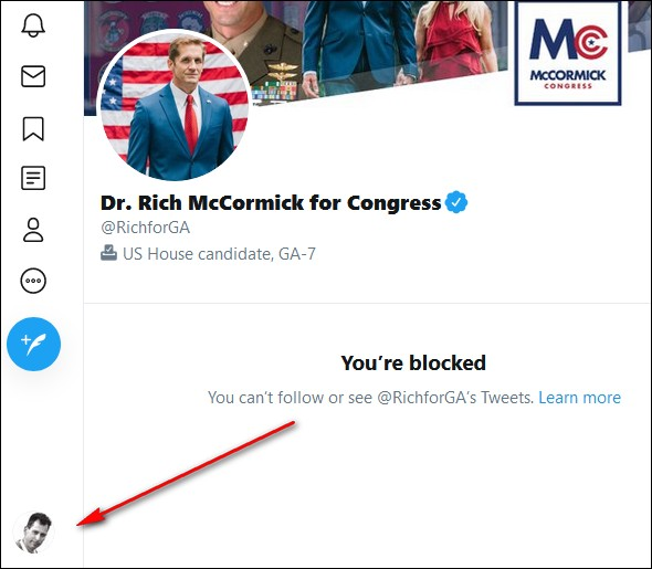 1/ My wife & I live/vote in GA's 7th district. Richard D. McCormick MD is the @gop candidate in this year's congressional race. I've been a fact-based public critic of Dr. McCormick & I filed this complaint against his license. https://t.co/RQl3yZBbQO  He just Twitter-blocked me. https://t.co/CSAmIjdl4d