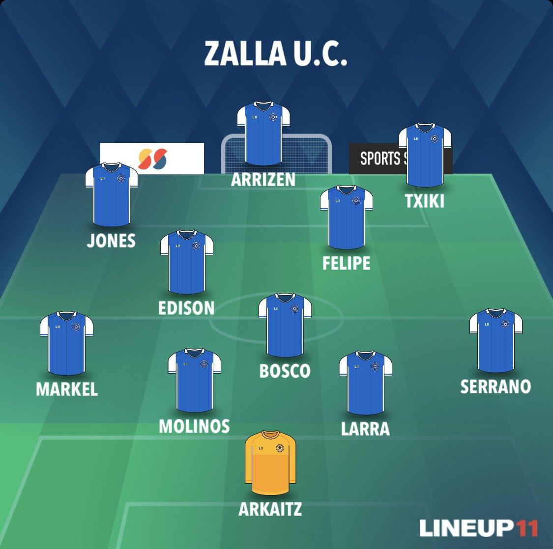 Ya tenemos el primer once inicial de la temporada del @ZALLAUC 🔝  Preparados para comenzar a las 17:30 h. en Landaberri frente al @SDRetuertoSport 💪  Zalla Gu Gara !! 🔵⚪ https://t.co/vVYUsGJ7Ww