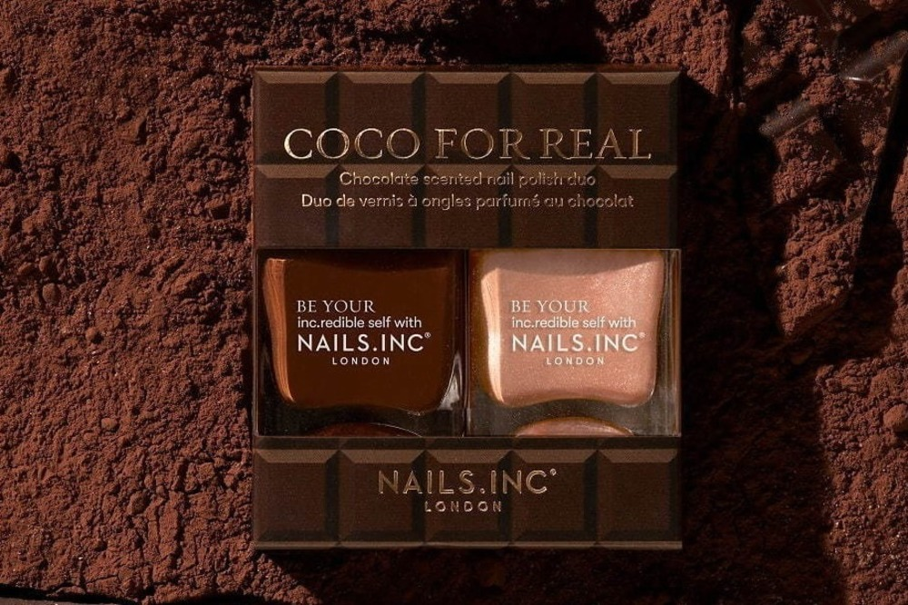 """ネイルズ インク""""ほんのりチョコの香り""""ネイルカラー、キャラメル&ビターチョコ着想の濃密ブラウン -"""