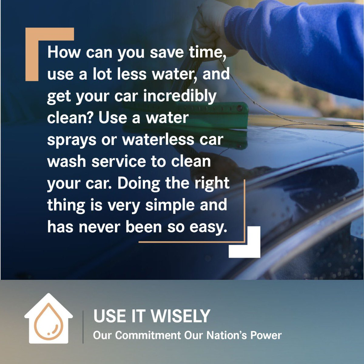 How can you save time, use a lot less water, and get your car incredibly clean? Use a water sprays or waterless car wash service to clean your car. Doing the right thing is very simple and has never been so easy. #UseItWisely  #OurCommitment #OurNationsPower  #YouAreResponsible https://t.co/ujlctCgZx6
