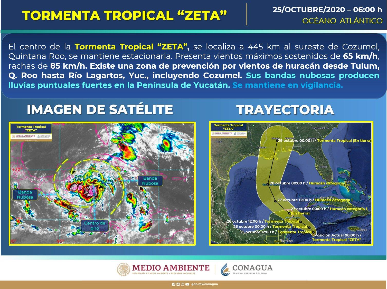 Se forma la tormenta tropical Zeta cerca del canal de Yucatán