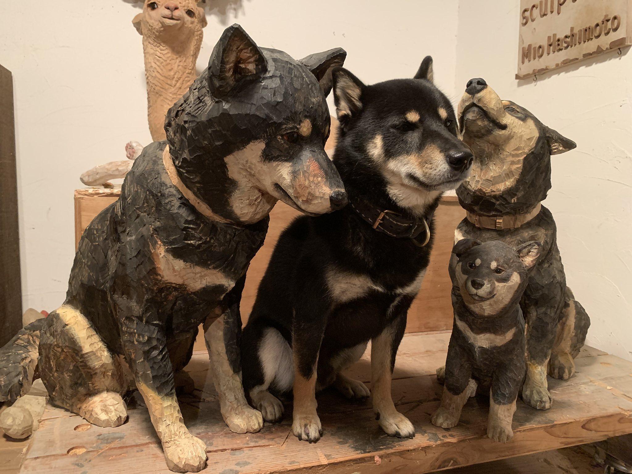 木彫りの黒柴たち02