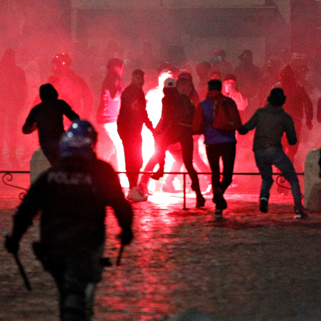 Far-right protesters in Rome clashed with police after a second night of demonstrations against coronavirus restrictions.
