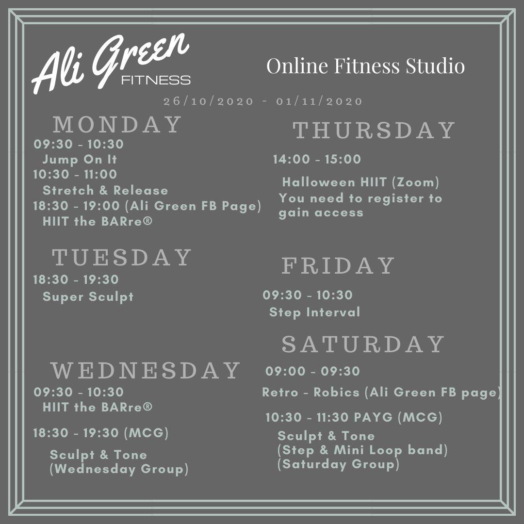 Next weeks timetable! DM to get involved #homeworkout #fitnesspresenter #onlinefitnessstudio #athomeworkout #exerciseatyourconvience https://t.co/8pfH8kjPIF