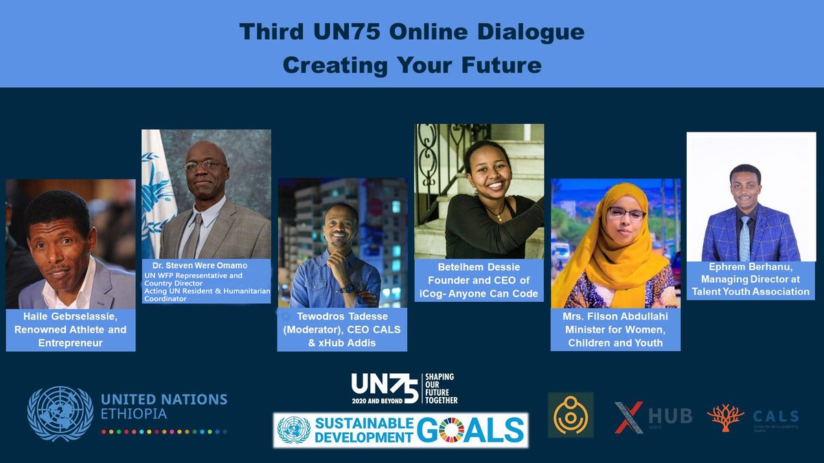 75 years ago #Ethiopia helped to create the UN. Now it is our turn to #shapeourfuture.   Join us for an exciting online dialogue with inspiring people including @1_filsan, @swomamo, @HaileGebr @betelhem_dessie & @eberhanu_  Monday Oct 26 3:00 pm  Register:https://t.co/kYKp5Up7rL https://t.co/kCumZkVJ2b