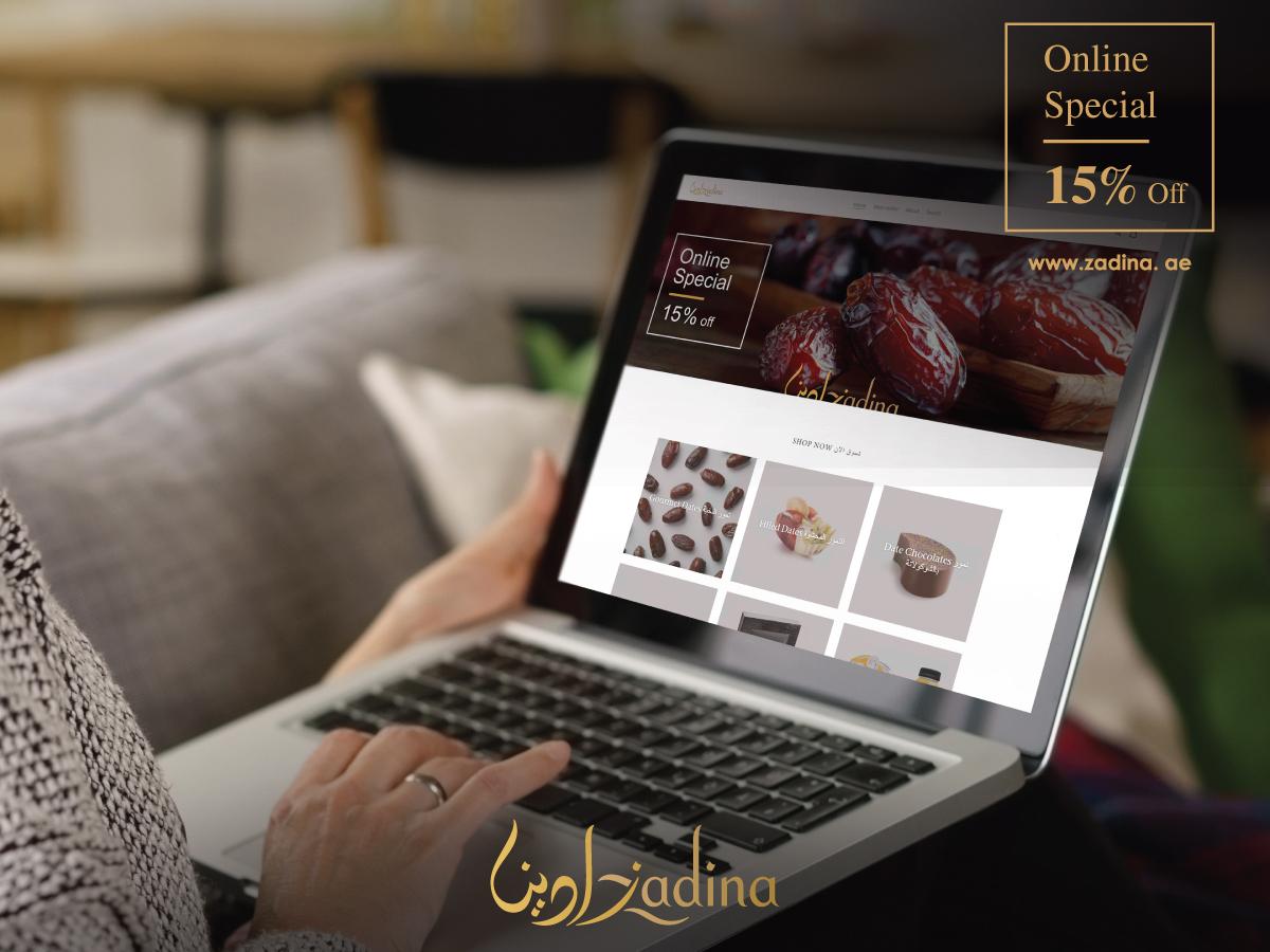 أحصل على خصم 15% على جميع تمورنا الفاخرة عند التسوق اونلاين من موقع زادينا الالكتروني https://t.co/hmDEhY8RnZ #ShopOnline #Zadina #ZadinaDates #ZadnaBoutiques #FineFood #LuxuriousDates #LuxuriousGifting #Luxury #Gourmet #MyDubai #InAbuDhabi #UAE https://t.co/GGRR2N37fy