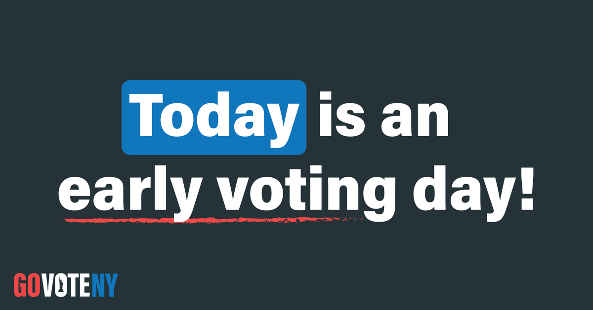 It's Day Two of Early Voting in NYS. Find your polling place here: voterlookup.elections.ny.gov #GoVoteNY