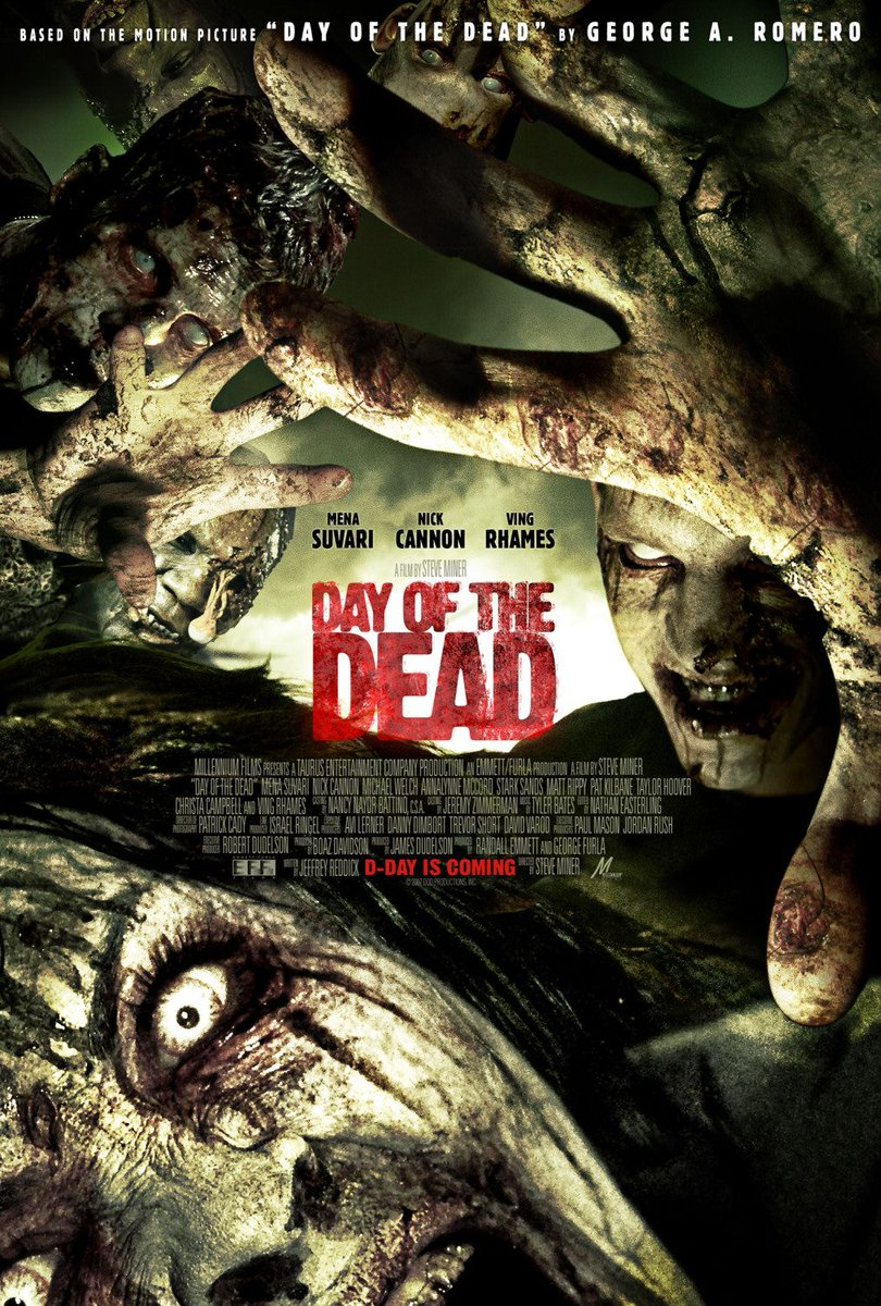 🎃 countdown. Film #34. Day of the Dead (2008). A small town is overrun by, you guessed it, the undead. This remake isn't great, but it's worth a watch and stars Mena Suvari and Nick Cannon (bet you haven't heard those names in a while 😆). https://t.co/DBOQZ0F8XR