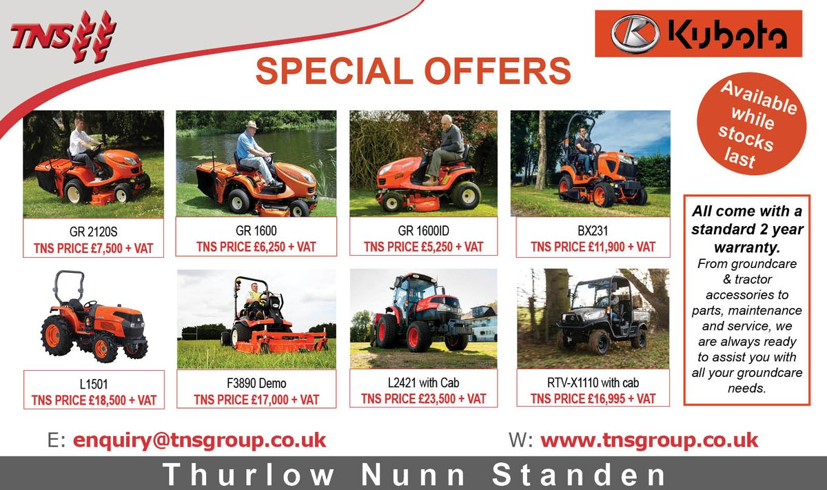 Look 👀 Kubota out of season special offers available now, while stocks last, pop into your local branch for more information ➡️ https://t.co/GXGlEyTJc9 #kubota #lawnmower #rideonmower https://t.co/eMdWXzMzya