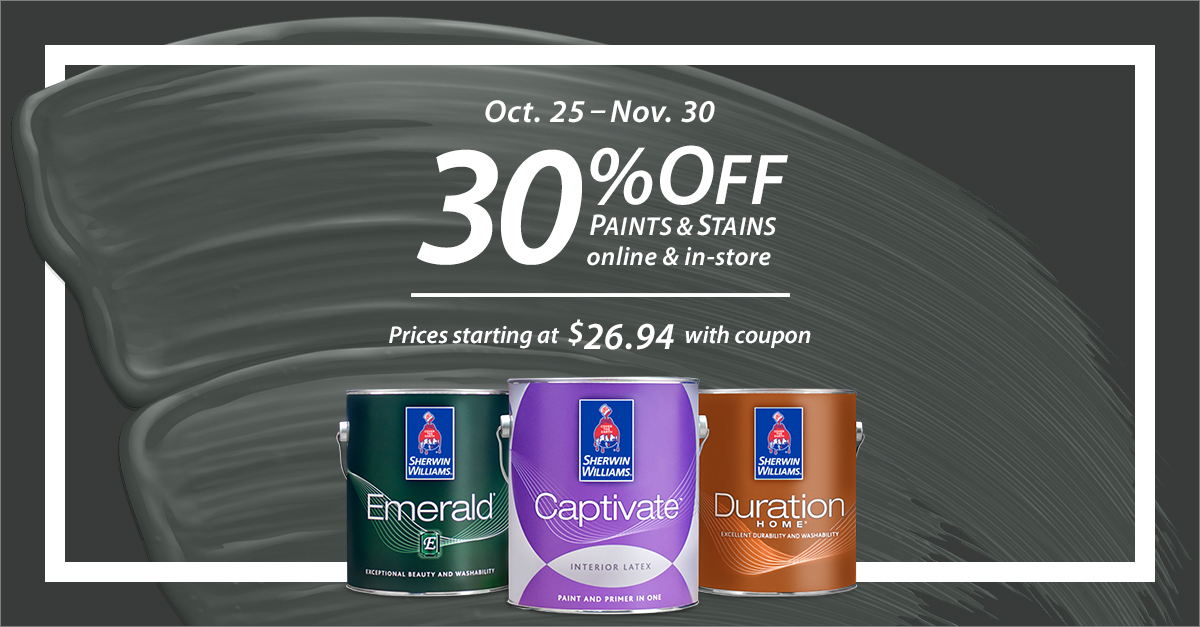 No tricks, just treats. 🎃 Save 30% on paints and stains, just in time for the holidays. Get the details: https://t.co/R0wyDgPKs4 #sherwinwilliams #paints #stains #diy #colorinspiration #interiordesign https://t.co/qzZ8Wvt1FV