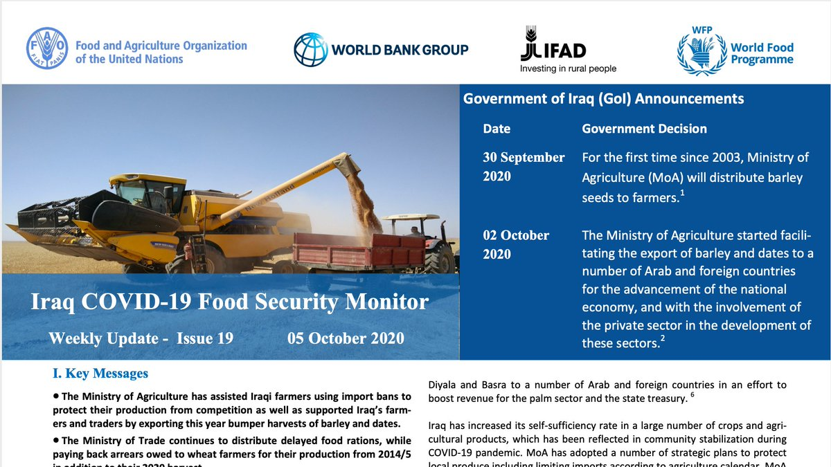 📊 @FAOinNENA_EN, @IFAD, @WFP & @WorldBankMENA continue to track the impact of the COVID-19 pandemic on food security, agricultural production and the overall food system in #Iraq. The 19th issue of the joint Iraq COVID-19 Food Security Monitor is out now! reliefweb.int/report/iraq/ir…