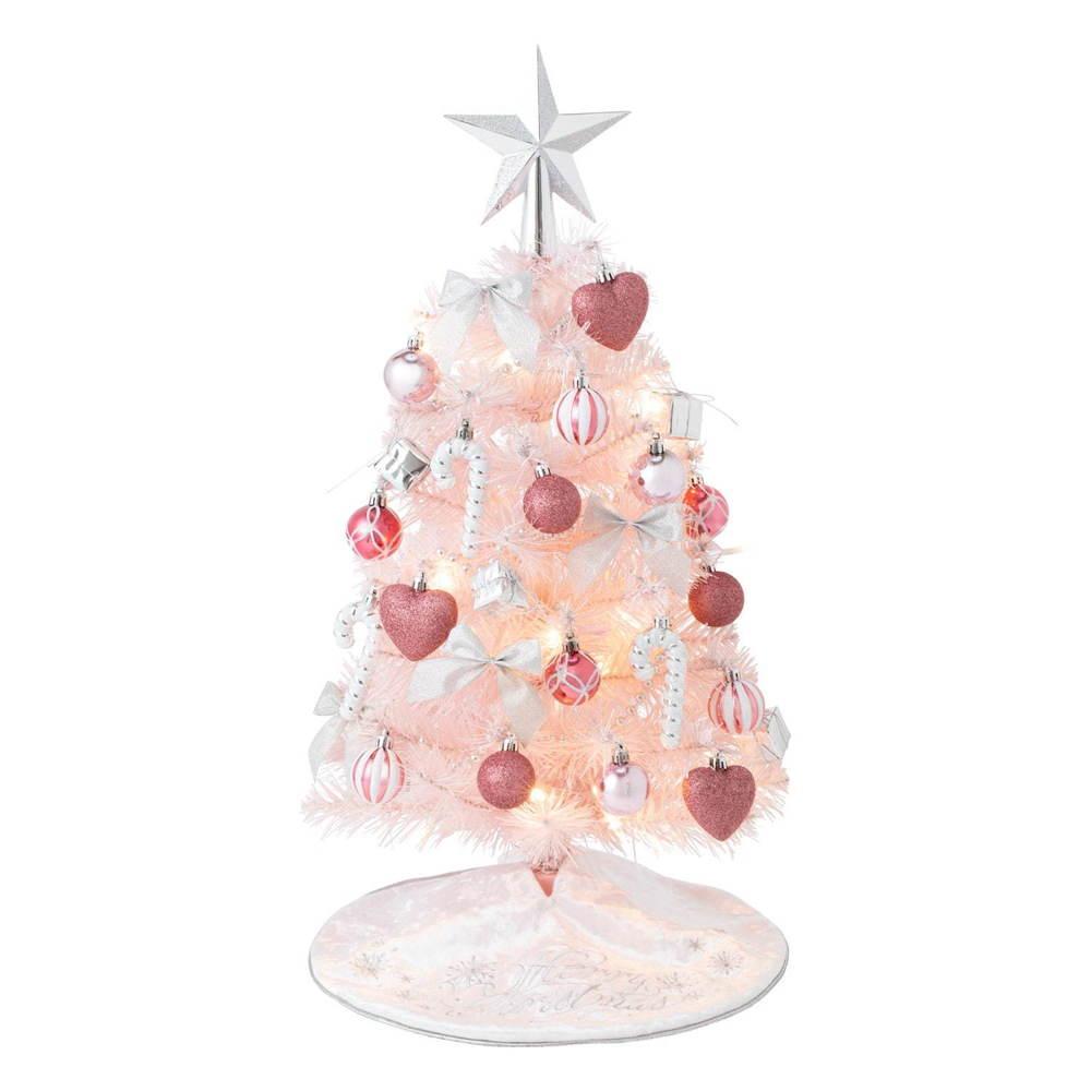 """フランフラン""""ピンク""""のクリスマスツリーに新作ミニサイズ、ハート&リボンのオーナメント -"""
