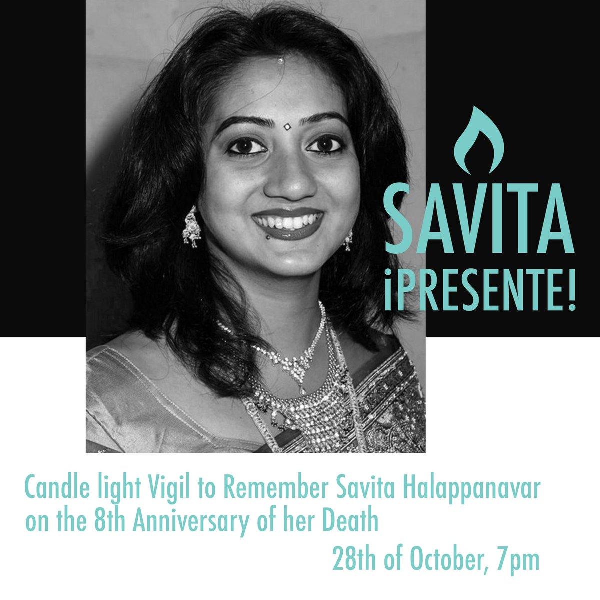 We would like to ask everyone to share photos of candles and reflections on all their social media platforms using the hashtag #SavitaPresente at 7pm on the 8th year anniversary of Savita Halappanavar's death on Wednesday, 28th Oct. More details to follow. https://t.co/ha5mVjbV5S