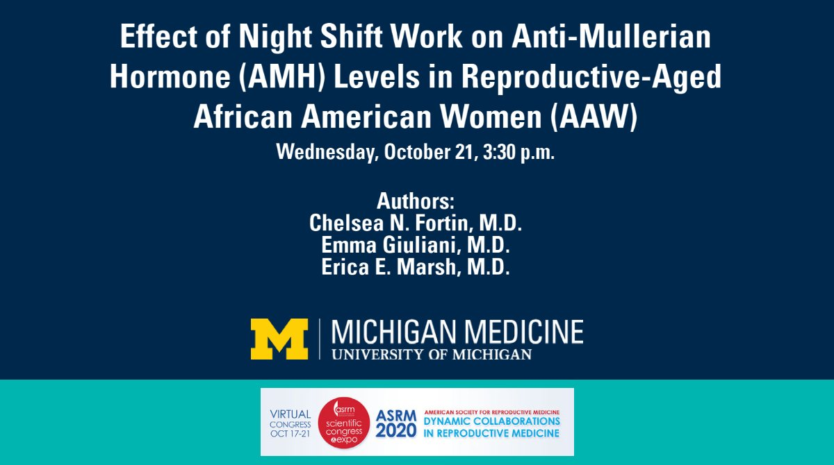 Are levels of anti-mullerian hormone (AMH), a serum biomarker of ovarian reserve, affected by working night shift? @EricaMarshMD & a @UmichMedicine team studied this in a cohort of reproductive-aged African American women & shared findings at #ASRM2020: https://t.co/tJIkncBqqN. https://t.co/ZG7iRVPyTL