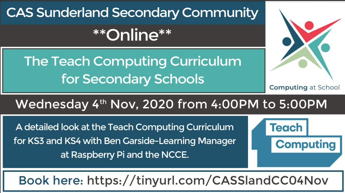 Calling all #secondary #teachers in #Sunderland! On the 4th of November we have an online session just for you giving you a detailed insight on the Teach Computing curriculum for #KS3 and #KS4. Find out more and book you FREE place here: https://t.co/4WaiRGmjqC @CompAtSch #NCCE https://t.co/wBxCKQDOAf