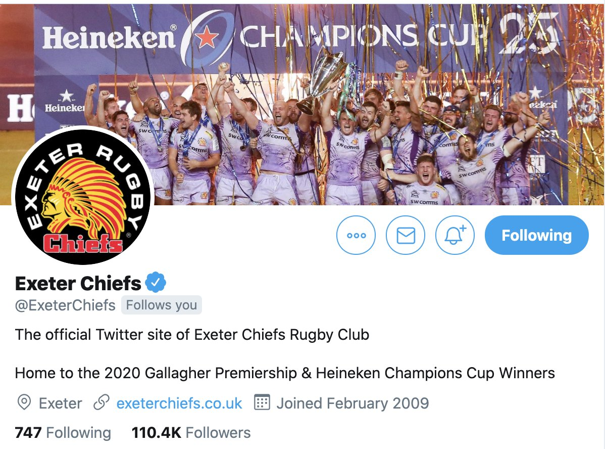 test Twitter Media - 📝 Sunday's jobs...  • Update Twitter bio - Done ✅  Nice work, @ExeterChiefs. https://t.co/4mUau0iV2o