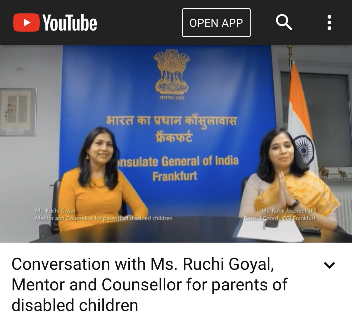 Concluding Session  Let's Connect: 9 #Women,9 #SuccessStories Ms. Ruchi Goyal, mentor for parents of children with #specialneeds, talks about #motherhood & more.  https://t.co/6qCD9nIrYV @MinistryWCD @MinOfCultureGoI @ICCR_Delhi @IndianDiplomacy @eoiberlin @AmitTelang12 @rouchi6 https://t.co/1SBkQppBk2