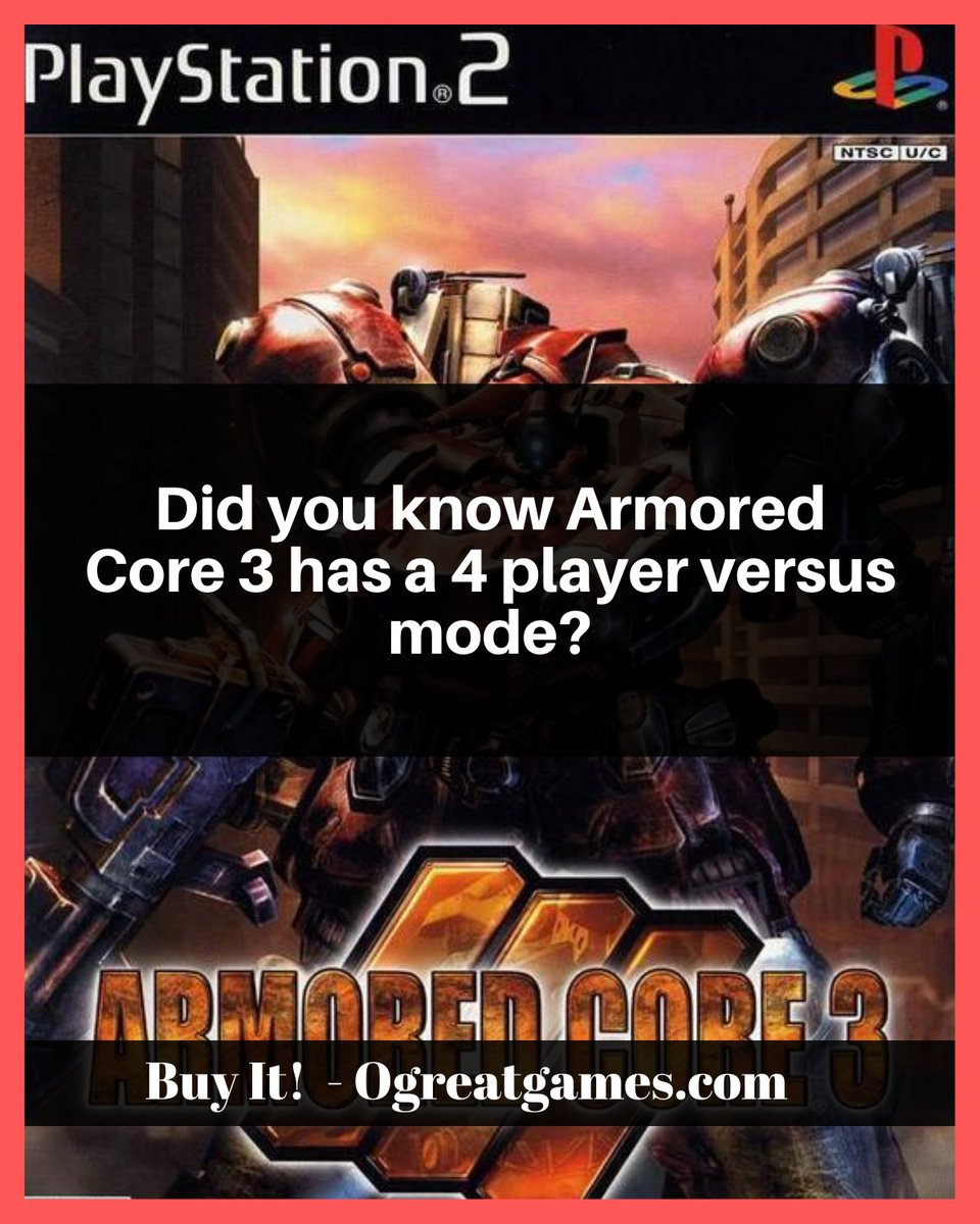 Did you know Armored Core 3 has a 4 player versus mode? #versus #games #history #dyk #videogames https://t.co/xhXxtDH1Dn