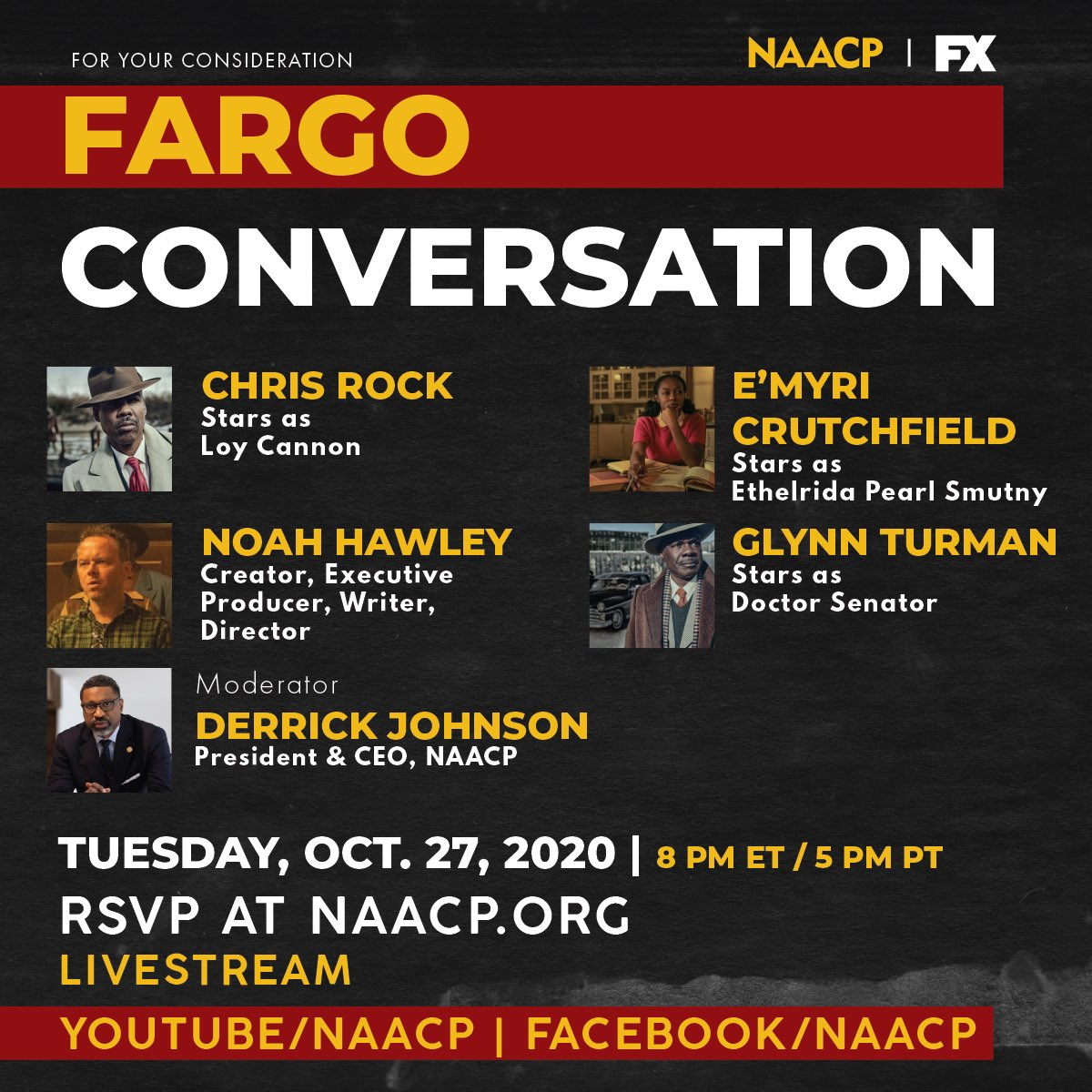 This Tuesday join us for a conversation w/ @chrisrock and the cast of @FargoFX discussing the new season and it's relation to the current state of Black America. Moderated by our very own President @DerrickNAACP. https://t.co/vOGXSP9GNp