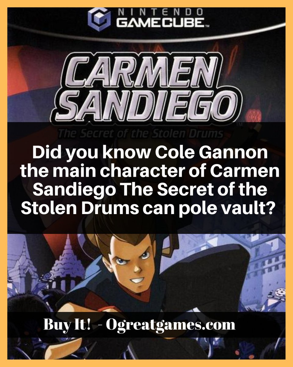 Did you know Cole Gannon the main character of Carmen Sandiego The Secret of the Stolen Drums can pole vault? #gamecube #fact #question #nintendo #dyk https://t.co/A4SrWz6aKB