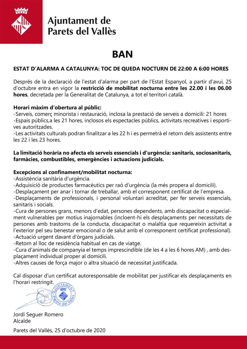 #BANAlcaldia sobre l'estat d'alarma a Catalunya i el toc de queda nocturn des d'avui 25 d'octubre.  ❗ Resten prohibits TOTS els desplaçaments i la circulació per les vies públiques entre les 22.00 i les 06.00 hores.  #Parets #Covid19 #Transparència https://t.co/yfSAH1beTm