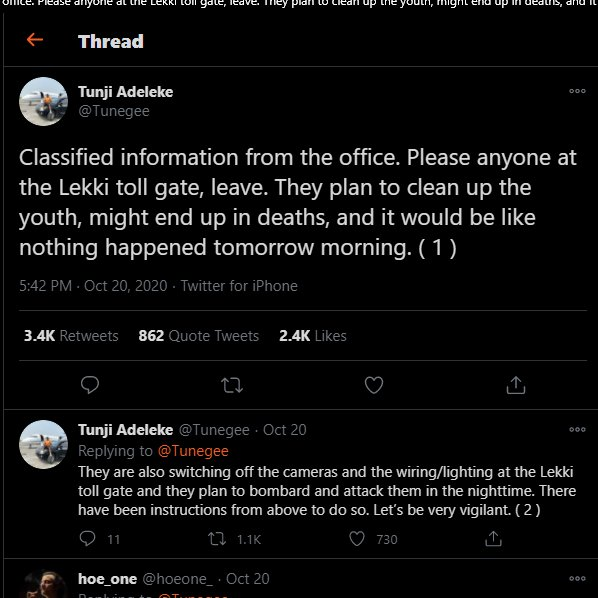 Now, we know why the children of the rich and peeps like Lilian Afegbai was not at the tollgate on 20.10.2020.  It was because they were all informed beforehand #EndSARS https://t.co/Apz0ZsHG22