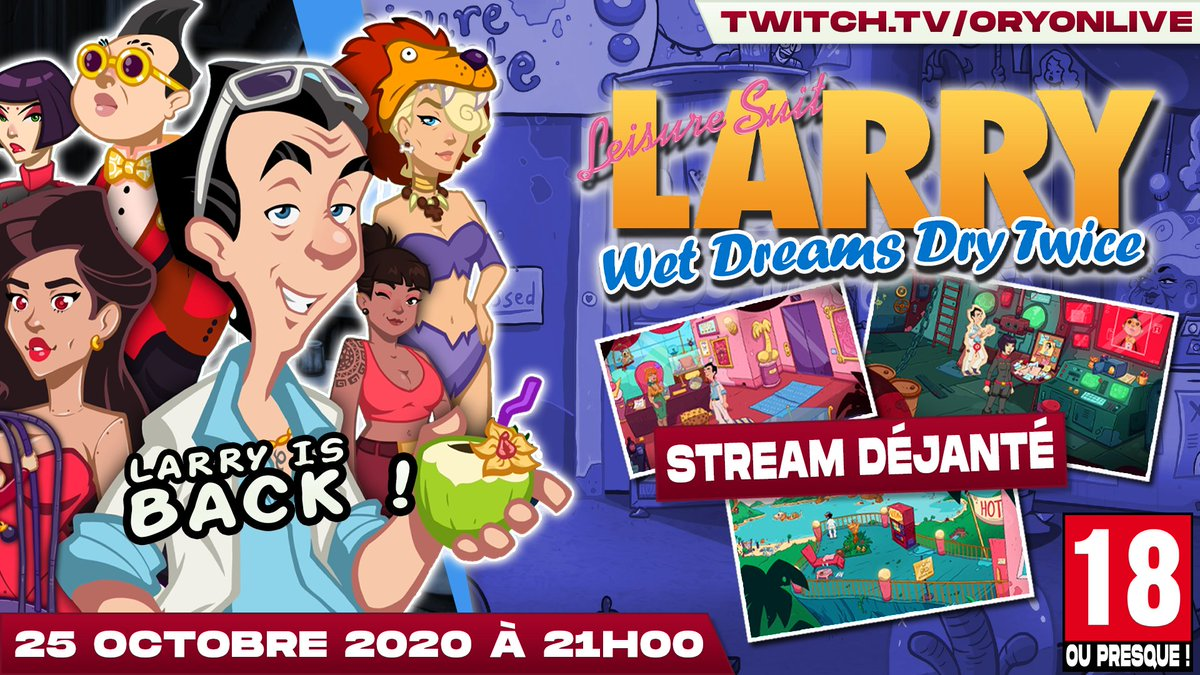 Hey ! ce soir un stream un peu particulier : #leisuresuitlarry #wetdreamsdrytwice !  A 21H00 sur https://t.co/VHFt7PMLcd  #Larry #TWICE #gaming #gamingcommunity #streaming #streamer #LIVE #YouTube #love #adult #pointnclick #adventure https://t.co/8LPU118G5C