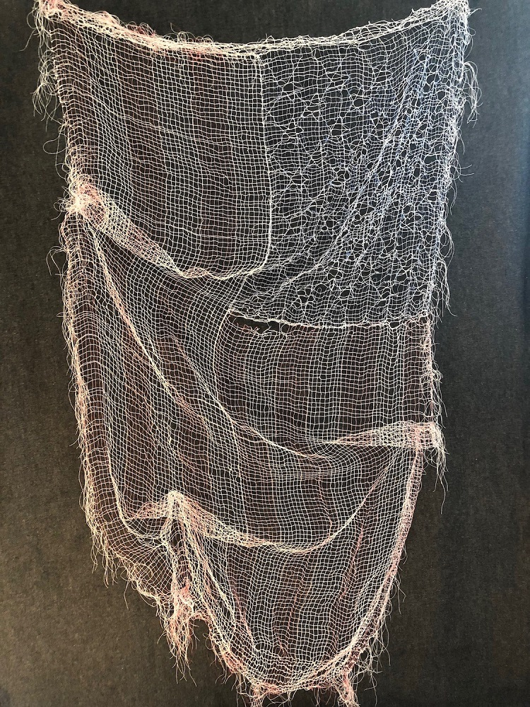 Winnie van der Rijn Hanging On By A Thread / Coming Apart At The Seams (2020) thread (fabric created and then dissolved leaving thread skeleton) 60 x 36 in.  https://t.co/dssKpXoCsD  #womanmadegallery #fineart #womenartists #chicagogalleries #contemporaryartists #artgallery https://t.co/LX72YtRWmx