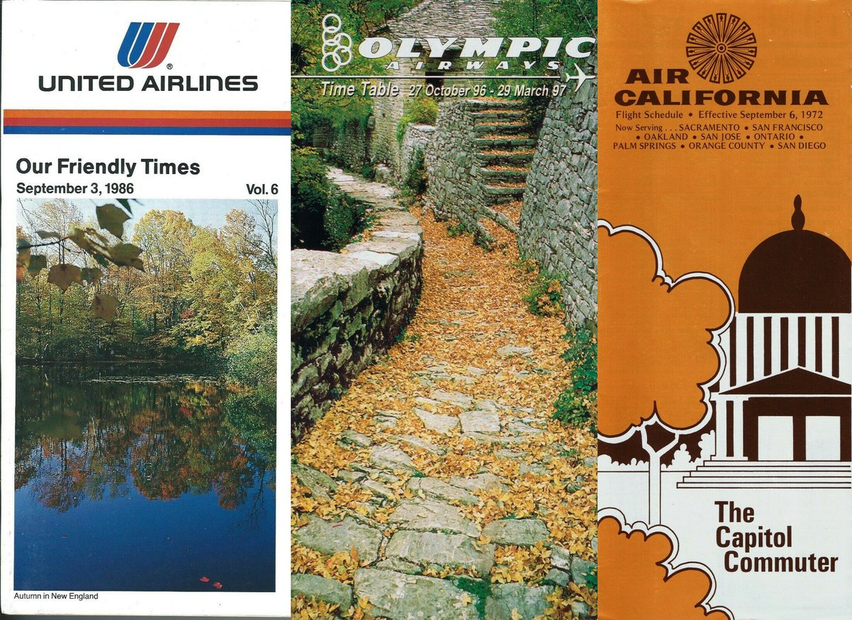 Autumnal Timetables from the past 1972-1997 . . #ephemera  #airplane #avgeek #avgeeks #aviation #travel @AusterityAirli1 @airlineguys #timetables #Autumn #UnitedAirlines #Olympic #AirCalifornia https://t.co/Q4uO07NyZB