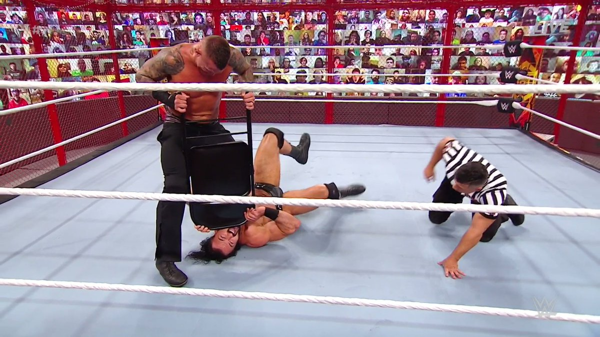 Going after that weakened jaw... #TheViper @RandyOrton knows where to strike at all times. #HIAC