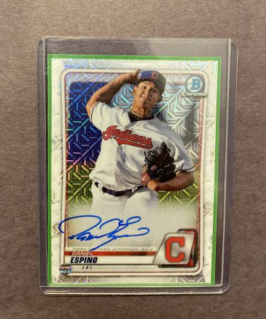 2020 Bowman Chrome Autograph Daniel Espino #BCMA-DE RC Mojo Refractor  👉 $9 👉 https://t.co/dMVancd81o  @HobbyConnector @sports_sell @HiveCards @DailySportcards #tradingcards #cleveland #indians #clevelandindians #tribe #gotribe #believeland #collect #thehobby #hobbybst #bowman https://t.co/1MOJv2jue3