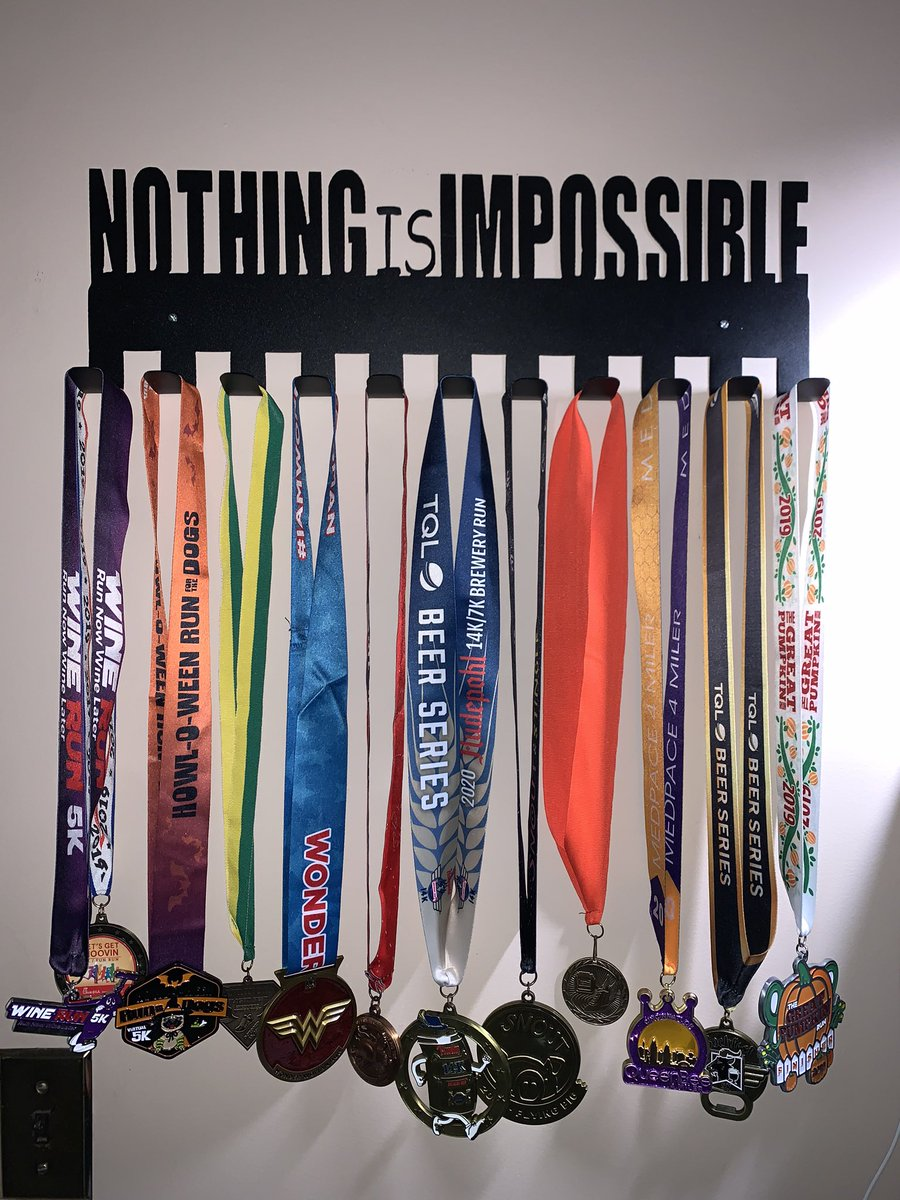 My husband did something special for me today so I can display my medals. #running #5Krun #10krun #selfcare #exercise #endorphins #mentalhealth https://t.co/afEc0aJWWH