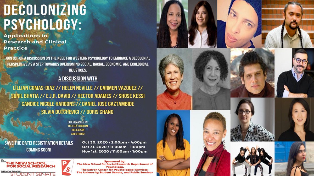Looking forward to being in community and dialogue with these brilliant scholars and artists at the upcoming conference on Decolonizing Psychology at The New School for Social Research. #DecolonizingEd #DecolonizingPsych #ICRaceLab