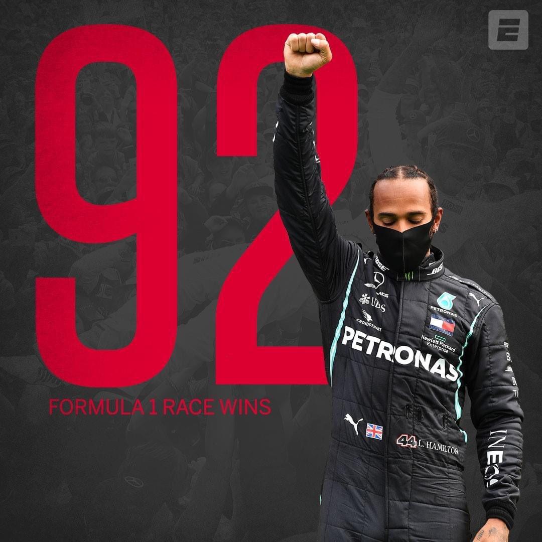 92 wins for the champion!!  History is made! #f1 #formula1 #lewishamilton #mercedesbenz #mercedesamg #silverarrow #cars #carsofinstagram #portugal #racing #MichaelSchumacher https://t.co/a2KFM9Nix0