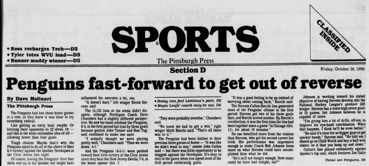 30 years ago (10/25/90): #Penguins beat #Nordiques, 6-3. #LetsGoPens https://t.co/lBhd7qohPL