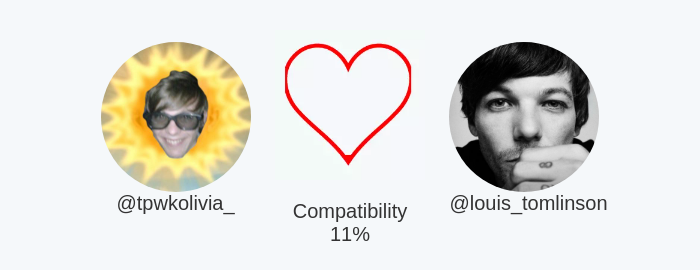 My love compatibility with @louis_tomlinson is 11%  Calculated with https://t.co/epBEP0kxTP  ⠀ https://t.co/aMjTWepH3w