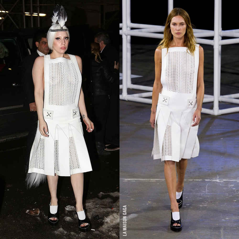 """Back in Time: #LadyGaga headed to Quality Meats restaurant, wearing @AlexanderWangNY's Spring/Summer 2014 laser-cut white leather apron-style dress and """"Meghan"""" mules with an @EricksonBeamon feathered metal headpiece!  More about this lewk: https://t.co/Qj4PrjbEZv https://t.co/w9hMbXymh6"""