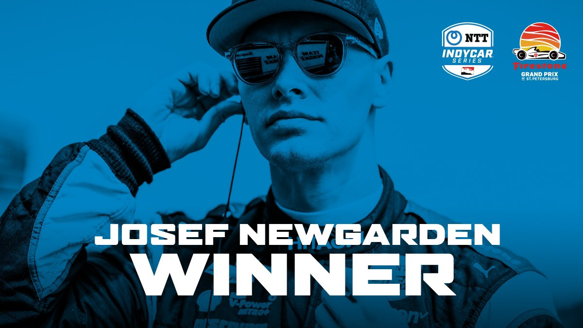 .@josefnewgarden takes the checkered flag for his fourth win of the season at the #FirestoneGP @GPSTPETE. https://t.co/e27iuXG1bt