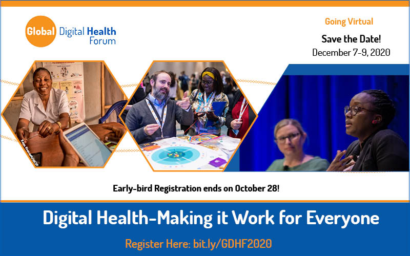Early-bird registration for the Global Digital Health Forum ends October 28th! Register now @ https://t.co/BJsX4CUaVA #GDHF2020 #DigitalHealth #SaludDigital #SanteDigital #mHealth #eHealth #ICT4D  @The_GDHN https://t.co/6UPLYiaSWQ