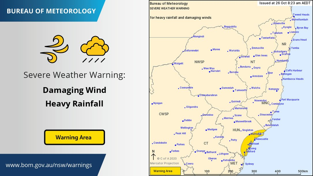 ⚠️Severe Weather Warning for parts of the Hunter⚠️ HEAVY RAINFALL which may lead to FLASH FLOODING is expected through the morning. DAMAGING WINDS, averaging 60 to 70 km/h with peak gusts in excess of 90 km/h are possible on the coastal fringe.  Warnings: https://t.co/9KjjpVct57 https://t.co/3Q2qESoyoY