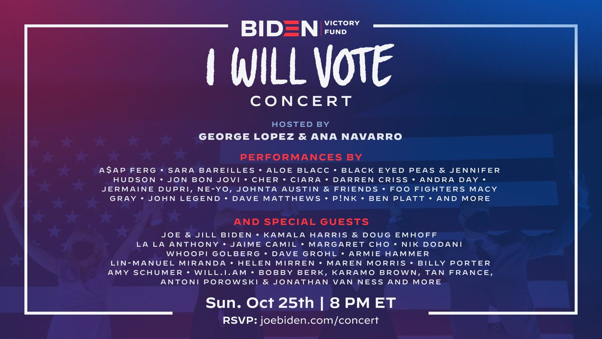 Join Andra Day and other incredible performers TONIGHT to support @JoeBiden, @KamalaHarris and Democrats. Sign up now or tune in starting at 8PM ET (5PM PT):   #IWillVote
