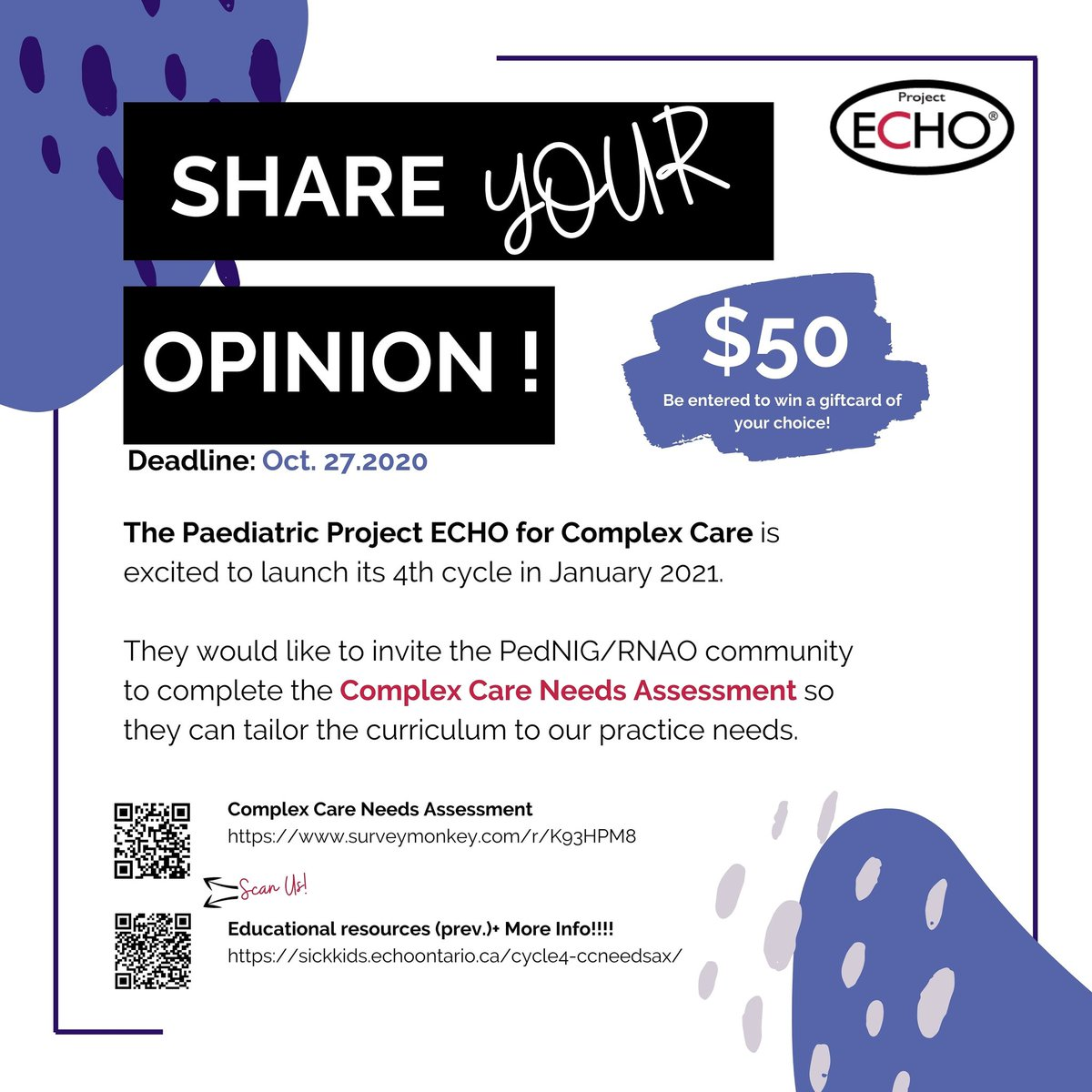 Our friends over at The Paediatrics Project ECHO for Complex Care are going to be launching their 4th cycle in Jan 2021.    THEY NEED OUR HELP!  By the end of Oct.27.2020 they would like YOU to share your opinion!!!  #paediatrics #complexcare #Opinion https://t.co/IWkwRc03bv